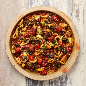 Yotam Ottolenghi's spicy squid and giant couscous stew.