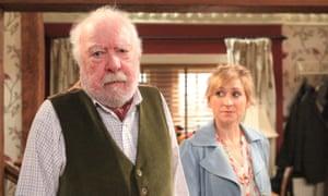 Freddie Jones as Sandy Thomas with Charlotte Bellamy as Laurel Thomas in Emmerdale.