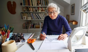 Judith Kerr in her study at home in west London in 2018