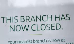 A Lloyds Bank branch closure sign.