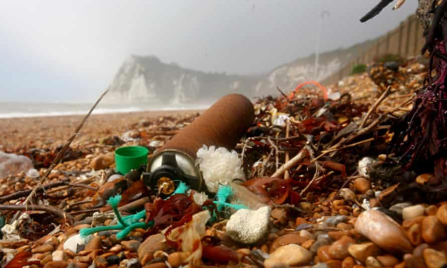 Litter on a beach in Dover, Kent