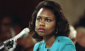 In a 1991 file photo, Anita Hill testifies before the Senate judiciary committee on the nomination of Clarence Thomas.