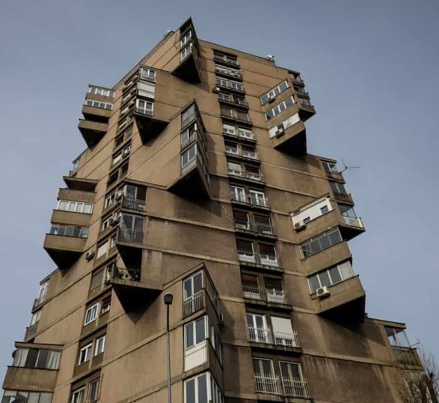"Karaburma Housing Tower, also known as the ""Toblerone"" building"