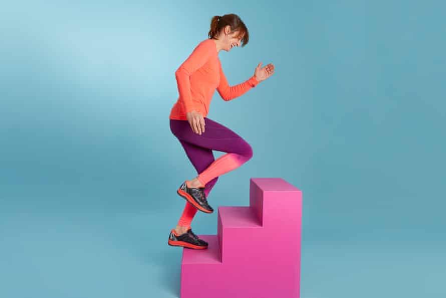 Zoe Williams running up steps