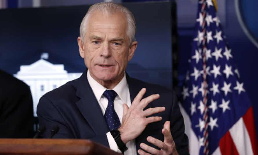 Peter Navarro speaks about coronavirus at the White House briefing room in Washington DC, on 2 April.