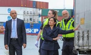 Sajid Javid, the chancellor, and Priti Patel, the home secretary, on a visit to Tilbury Docks today.