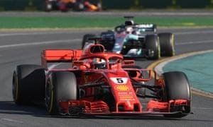 Sebastian Vettel finished ahead of Lewis Hamilton at the Australian Grand Prix in Melbourne.
