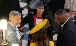 Idris Elba with George and Amal Clooney, and fiancée Sabrina Dhowre at Prince Harry and Meghan Markle's wedding.