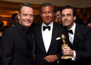 Bryan Cranston, Richard Plepler and Jon Hamm at HBO's party.