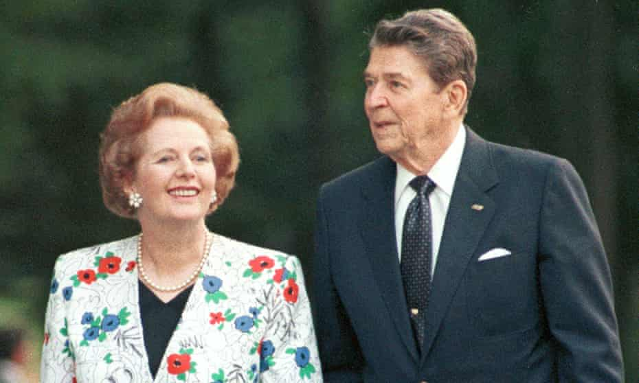 Ronald Reagan and Margaret Thatcher in 1988