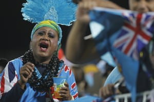 The Fijian fans have plenty to cheer at half time.