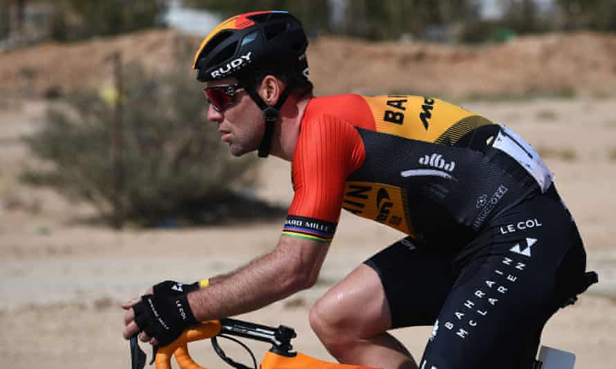 Mark Cavendish of the Bahrain McLaren team during the first stage of the Saudi Tour in February.