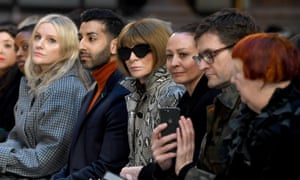 The chief executive of the BFC, Caroline Rush, sits next to Vogue US editor-in-chief, Anna Wintour, at London fashion week earlier this year.