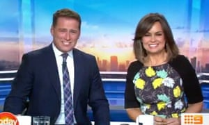 Karl Stefanovic and Lisa Wilkinson on Channel Nine's Today show. Wilkinson left the program after the network reportedly refused to meet her demand for pay equal to her co-host.