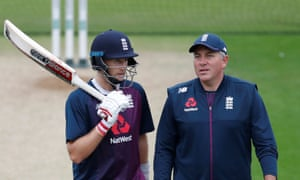 Chris Silverwood with Joe Root, England's Test captain