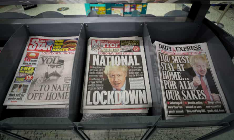 Newspapers at a shop the day after Boris Johnson put the UK in lockdown to help curb the spread of the coronavirus