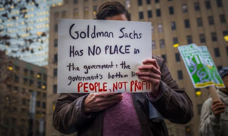 A protestor at the Goldman Sachs offices.