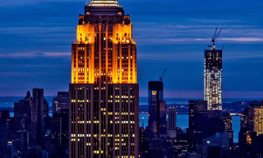 New York City's skyline with lower Manhatten unlit following superstorm Sandy