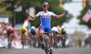 Peter Sagan crosses the line to win the men's title at the world road championships in Richmond, Virginia.