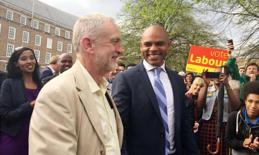 Jeremy Corbyn went to Bristol on Khan's signing-in day to meet that city's new Labour mayor, Marvin Rees, right.