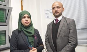 Parents of Tafida Raqeeb, Shelima Begum and Mohammed Raqeeb, at the Gaslini hospital in Genoa.