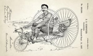 USA, 1887 Artwork of a velocipede designed by Daniel Kempster. The tricycle was powered by the rider using a rowing action