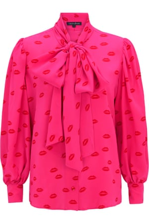 """Talking pointAdd a hot pink pussy-bow blouse to brighten your January wardrobe. British designer Tabitha Webb has teamed up with the Lady Garden Foundation – 25% of all sales goes to the gynaecological cancer charity. The """"Pussy Galore"""" red lip-print blouse is the perfect talking point and is sure to turn a few heads. £295, tabithawebb.co.uk"""