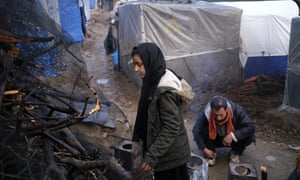 Refugees in the Moria camp on Lesbos