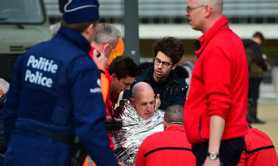 A victim receiving first aid after a terror attack in Belgium.