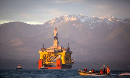 A semi-submersible drilling rig leased by Shell, en route to the Arctic.
