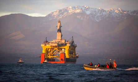 The Transocean Polar Pioneer in April 2015 on its way to Alaska where it was to drill for oil on behalf of Shell before the company scrapped the operation.