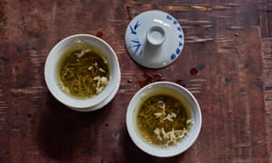 The teahouse serves a blend of tea leaves and flowers grown on the foothills of the Himalayas, just below the Tibetan plateau, near the town of Ya'an. Tea is traditionally served in a three-piece gaiwan - a squat handle-less cup with lid and saucer, China