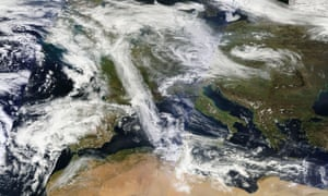 Satellite view of dust and clouds over Sahara and Europe on 31 March 2014. An analysis has now shown Saharan dust was only present in the atmosphere towards the end of the two-week episode.