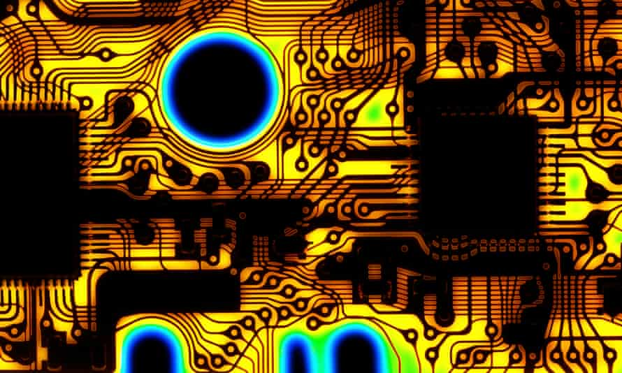 Macrophotograph of a printed circuit on a flexible material