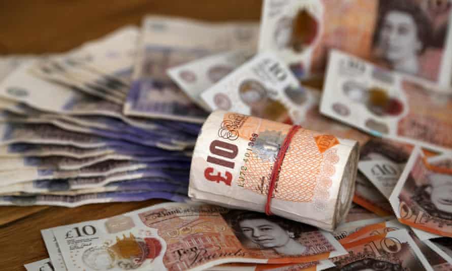 Pile of UK banknotes