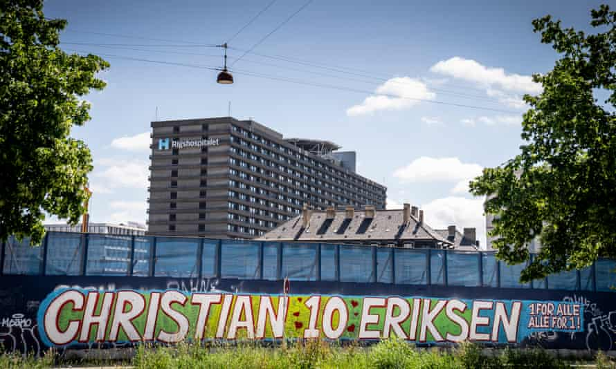 A mural dedicated to Christian Eriksen at the Rigshospitalet.