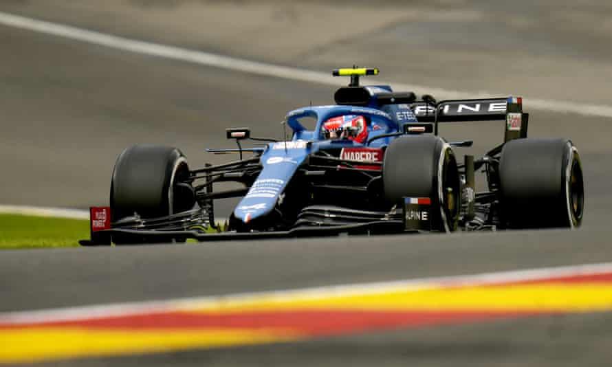 Esteban Ocon during practice at the Belgian Grand Prix