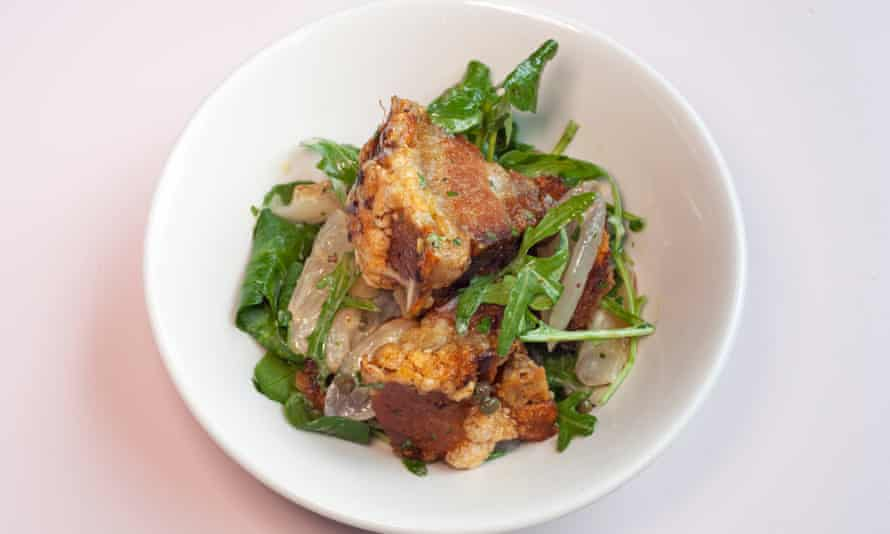 'Weep a little with happiness': pig's cheek salad.