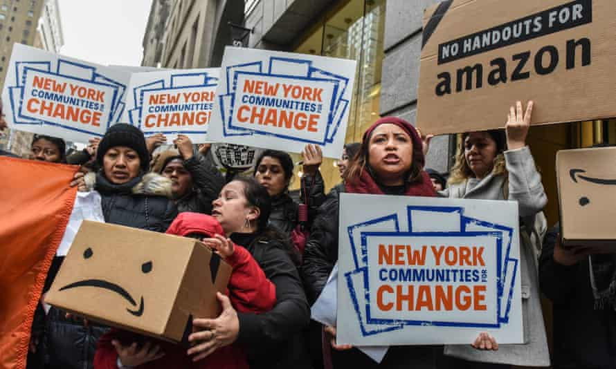 New York protestors opposing Amazon's plan to open its second headquarters in the city in November 2018. Amazon later announced it would not proceed with the move.