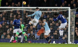 Aymeric Laporte of Manchester City scores the first goal.