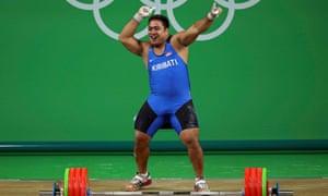 Dancing weightlifter David Katoatau of Kiribati.