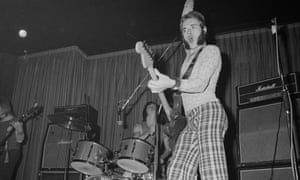 Jesse Hector of Hammersmith Gorillas on stage at Dingwalls, Camden Town, London, in 1977.
