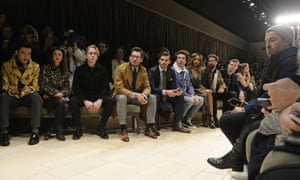 The front row at Burberry menswear AW16 at London Collections Men.