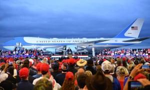 Donald Trump addresses supporters in Michigan.
