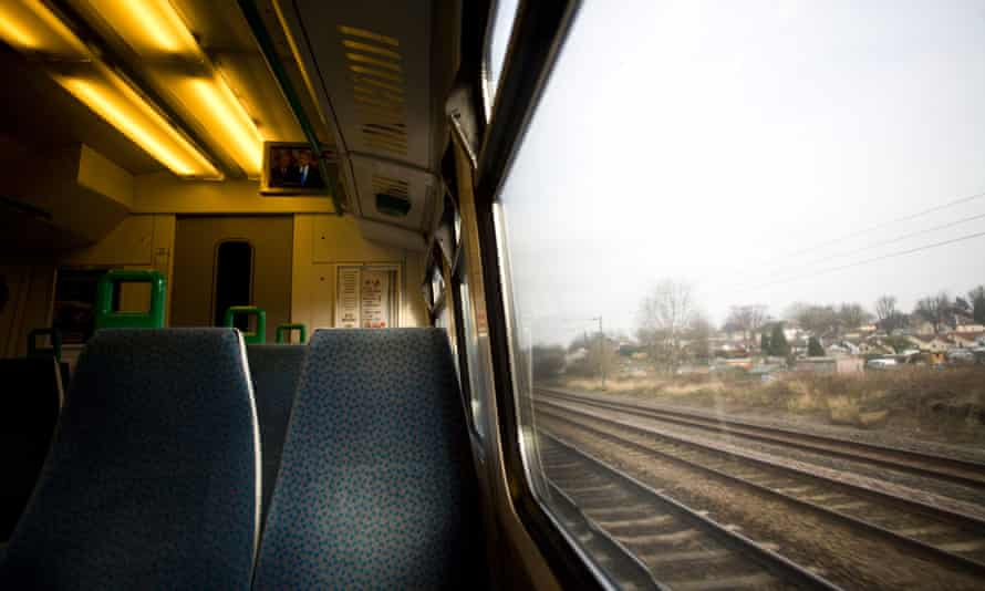 A view from a moving train on the London Midland line running through Birmingham