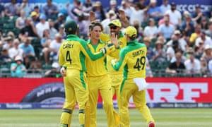 Australia's Adam Zampa celebrates taking the wicket of Afghanistan's Hashmatullah Shahid
