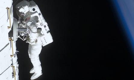 Untidy spaceman: Piers Sellers, whose spatula is in orbit.