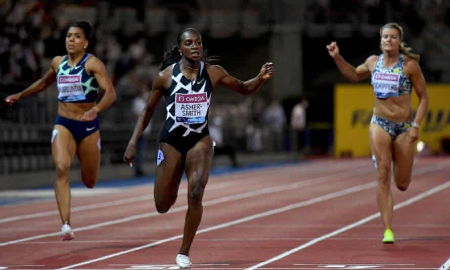 Dina Asher-Smith crosses the line to win the Diamond League 200m in Florence