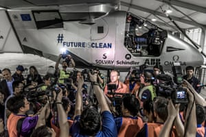 Crowds gather as the pilots prepare to fly nonstop for five days and five nights from Nanjing, China to Hawaii. Despite having to make an unscheduled stop in Nagoya, Japan, due to bad weather this flight proved that the solar plane could fly night and day without fuel.