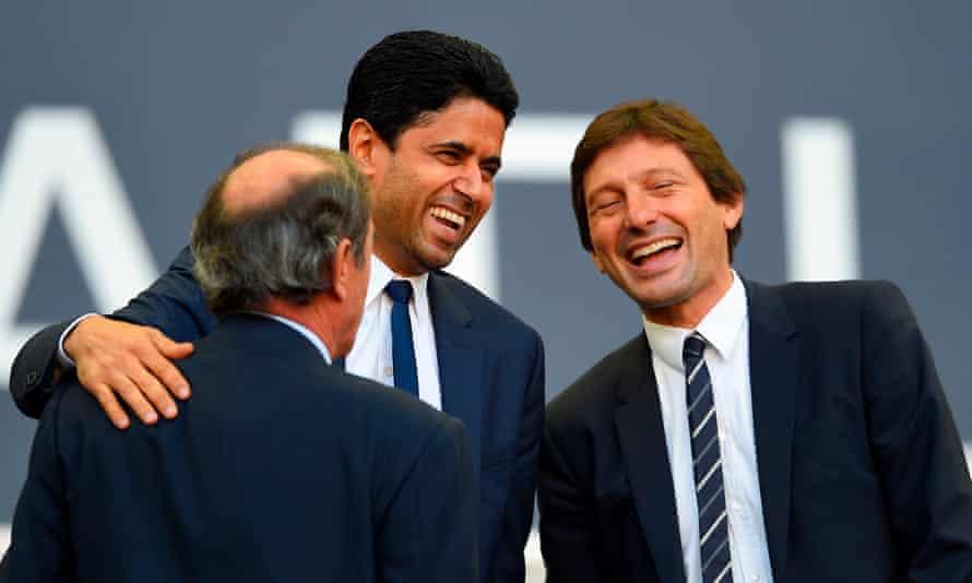 PSG's president Nasser al-Khelaifi with the sporting director Leonardo (right) in September 2019.